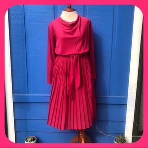 VINTAGE 🌺 Herman Marcus Dark Pink Pleated Dress🌺